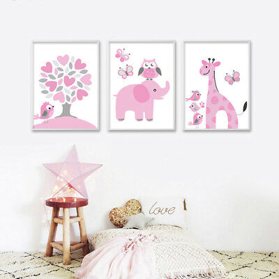 Cute Cartoon Canvas Poster Nursery Print Wall Art Painting Baby Bedroom Decor