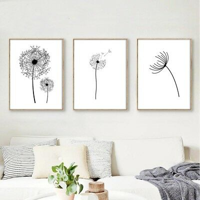 Dandelion Flower Wall Art Canvas Poster Minimalist Print Nordic Style Decoration
