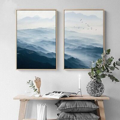 Nordic Style Landscape Poster Mountains Wall Art Canvas Abstract Print Picture