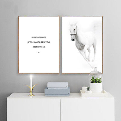 White Horse Canvas Painting Wall Art Canvas Poster Motivational Quotes Print