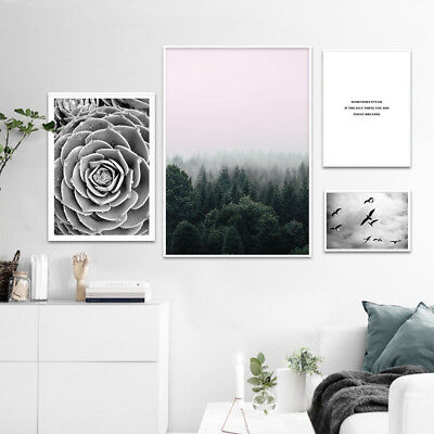 Foggy Forest Wall Art Canvas Poster Landscape Motivational Print Nordic Style