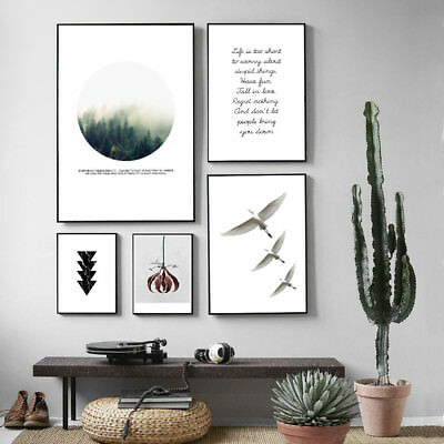 Nordic Style Wall Art Canvas Poster Foggy Forest Flower Landscape Prints