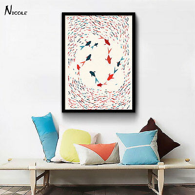 Geometry Fishes Canvas Poster Abstract Minimalist Art Painting Wall Decor