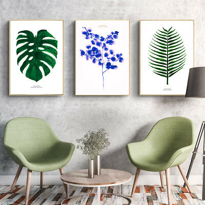 Watercolor Leaves Flower Canvas Poster Plants Picture Prints Art Wall Decor