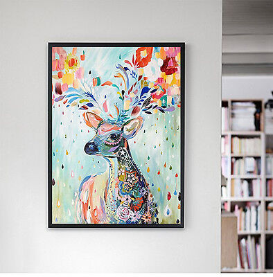 Watercolor Deer Canvas Poster Modern Nordic Abstract Art Print Home Wall Decor