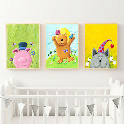 Cartoon Animal Poster Canvas Nordic Art Kindergarten Print Modern Kid Room Decor