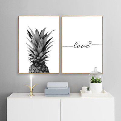 Pineapple Canvas Poster Love Quote Letter Art Print Nordic Style Home Wall Decor