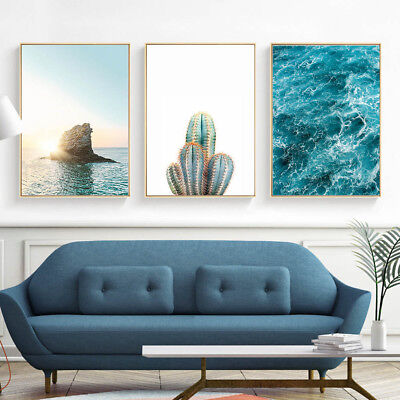 Sea Landscape Canvas Poster Cactus Plants Print Art Painting Wall Decor