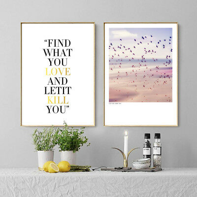 Birds Sky Landscape Canvas Poster Quote Print Wall Painting Home Art Decor