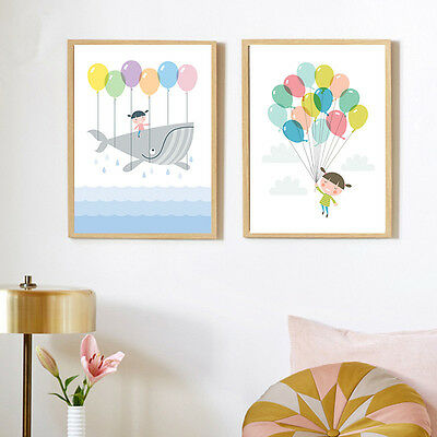 Cartoon Balloon Girl Canvas Poster Art Painting Modern Kids' Room Home Decor