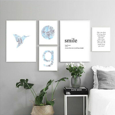 Marble Bird Motivational Wall Art Canvas Poster Abstract Print Nordic Decoration
