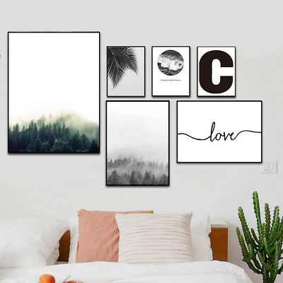 Forest sea Motivational Wall Art Canvas Poster Landscape Print Nordic Decor