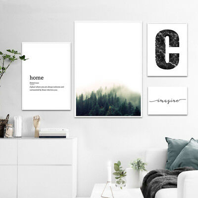 Foggy Forest Motivational Wall Art Canvas Poster Landscape Print Nordic Decor