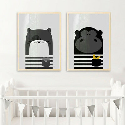 Cartoon Animal Canvas Poster Nordic Art Print Modern Baby Kids Room Decor