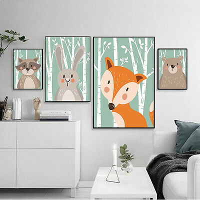 Cute Cartoon Animal Canvas Poster Nordic Art Prints Modern Kids Room Wall Decor