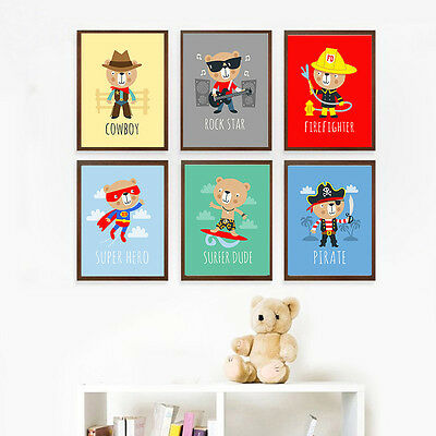 Cartoon Little Cool Bear Canvas Poster Nordic Art Print Modern Kids Wall Decor