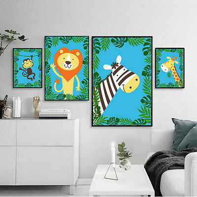 Cartoon Jungle Animals Canvas Poster Art Painting Modern Wall Decor for Kids