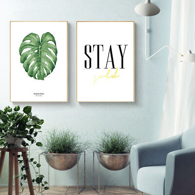 Watercolor Plants Leaves Canvas Poster Nordic Art Print Wall Painting Home Decor