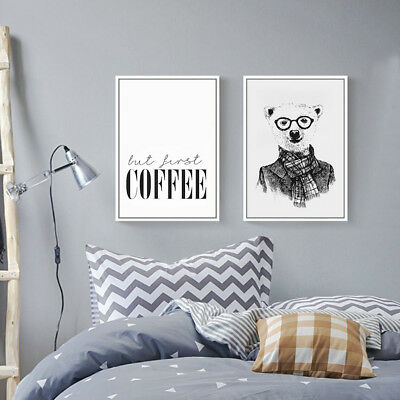 Cartoon Bear Canvas Poster Nordic Art Print Modern Wall Decor