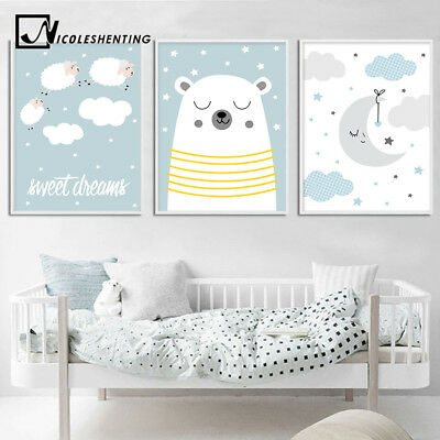 Bear Cloud Cartoon Canvas Poster Nordic Wall Art Print Baby Bedroom Decoration
