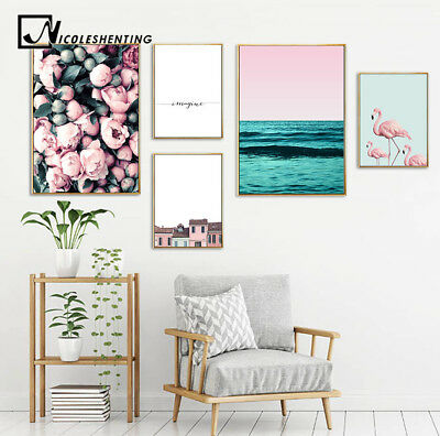 Flamingo Flower Canvas Poster Minimalist Wall Art Print Decoration Picture