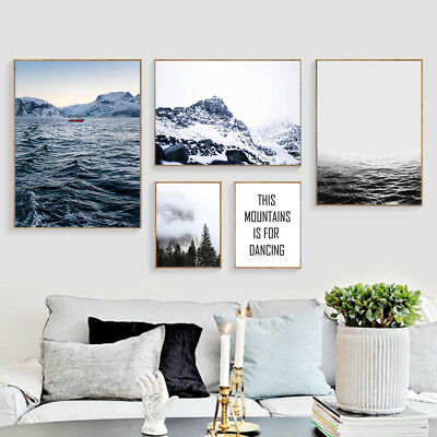 Forest sea Mountain Wall Art Canvas Poster Landscape Print Nordic Decoration