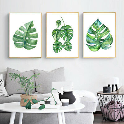 Watercolor Plants Leaves Canvas Poster Art Prints Wall Painting Home Decor