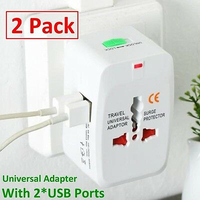 2pc Universal World Plug Travel Adapter Converter W/Dual USB Charger AU/US/UK/EU