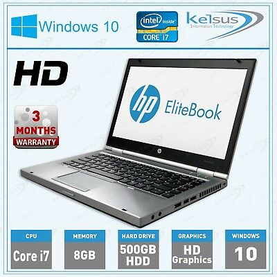 "HP EliteBook 8470p 14"" inch Laptop Core i7 8GB RAM 500GB HDD Windows 10"