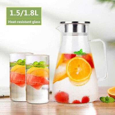 Glass Pitcher 1.8L Jug Cold/Hot Water Juice Milk Tea Wine Coffee Carafe Cocktail