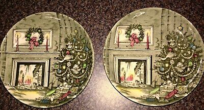 "2 Vintage Excellent 4.25""Johnson Brothers MINI Plates Christmas ENGLAND"