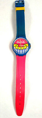 Coca Cola Swatch Swiss Watch c.1980 stars & stripes Rare Collectible Keeps Time