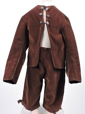 Civil War Era Boy'S Brown Velvet 2 Pc Suit W Button Trims