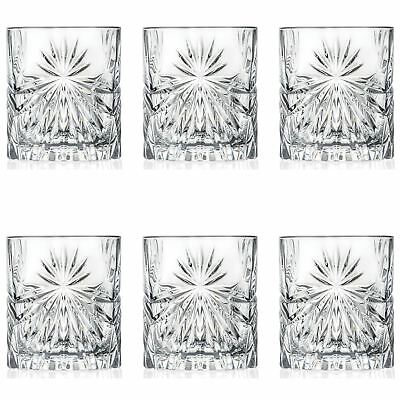 6x Oasis Cut Glass Double Old Fashioned Whisky Tumblers - 320ml Whiskey Glasses