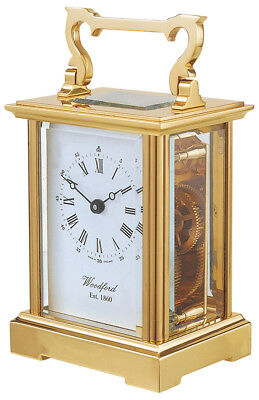 Woodford Solid Brass Mechanical Movement Anglaise Carriage Clock (1412)