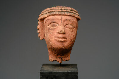 Ancient Egyptian Wood Head Late Period or earlier, ca. 1000-30 B.C.