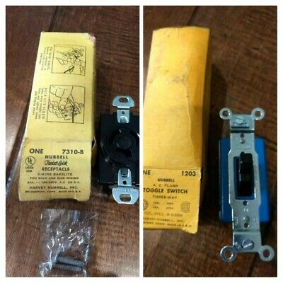 Hubbell 7310-B 20 Amp Twist Lock 3 Wire Receptacle + 1203 A.C. Toggle Switch lot