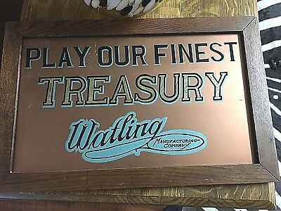 Antique Reverse Glass Watling Treasury Slot Machine Advertising Sign