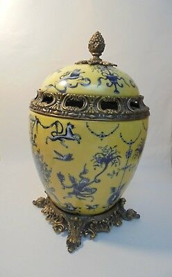 Vintage Yellow and Blue Ginger Jar w/Lid  and gold base