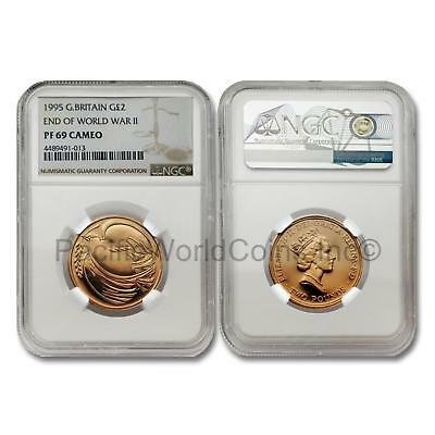 Great Britain 1995 End of World War II 2 Pounds Gold NGC PF69 CAMEO SKU# 7030