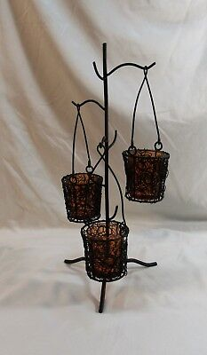 Black Wrought Iron Candle Tree with Three Candle Holders Gothic Halloween Décor