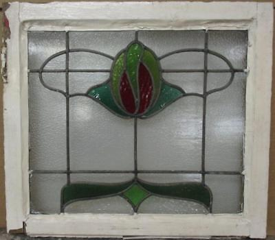 "MID SIZED OLD ENGLISH LEADED STAINED GLASS WINDOW Pretty Abstract 22.75"" x 20.5"""