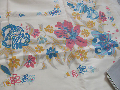 VTG 1950s MID-CENTURY TROPICAL TIGER-LILIES Lily Tablecloth & LINEN PLACEMATS