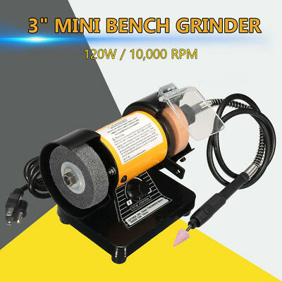 3'' Mini Bench Grinder 1 M Flxible Shaft 1/8'' Collet Buffer Polisher 10,000RPM