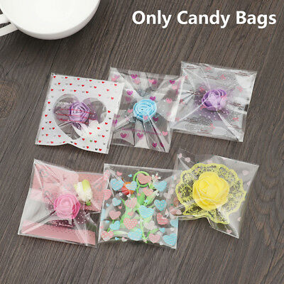 100pcs Cute Heart Plastic Bag Cookie Candy Gift Packaging Bags OPP Self Adhesive