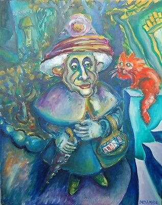 Original Oil Painting GRANNY AND RED CAT 20X16 inches FREE SHIPPING