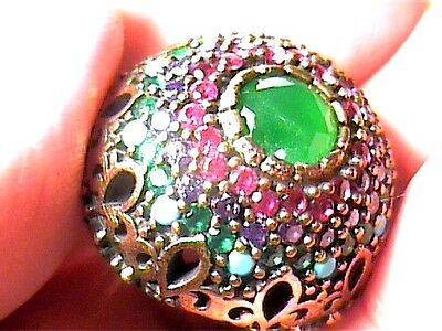 VINTAGE ANTIQUE RUBY emerald SILVER RING 7.5 MEDIEVAL NATURAL STERLING 925 small