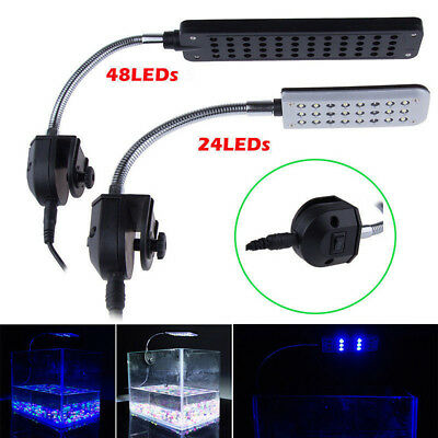 24/48 LED Aquarium Light Clip on Plant Grow Fish Tank Lighting Lamp Adjustable M