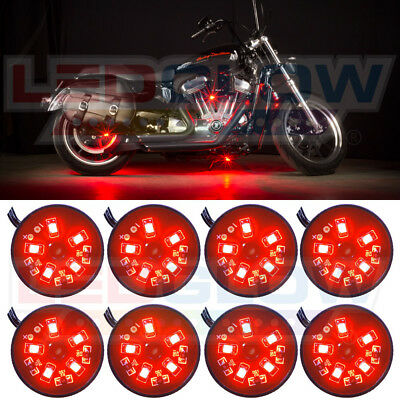 NEW! LEDGLOW 8PC RED POD LED MOTORCYCLE UNDER GLOW NEON LIGHTING KIT w SMD LEDs