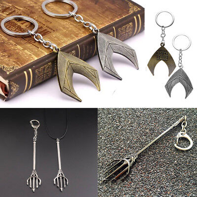 DC Comic Justice League Super Heros Aquaman Trident Model Keychain necklace Gift